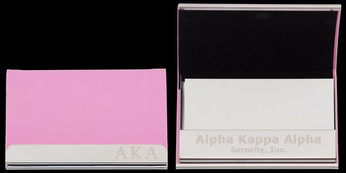 AKA Laser Engraved Leather Business Card Holder - Greek Stuff